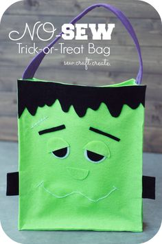 No-sew Trick-or-Treat bag. Three different styles! So easy! Perfect for the little ones in your life! #spookyspaces