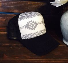 New gray&white AZTEC women's trucker hat. SnapBack by ArieBdesigns
