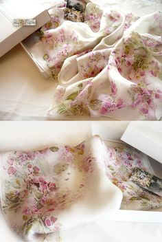 Silk Scarf,Hand Painted Silk Scarf,Pale Pink Scarf,flower scarf,Floral Silk Scarf,Batik Scarf,Silk Painting,Long Scarf,Gift for Her,Filkina by FilkinaScarves on Etsy  Gentle and elegant floral long  natural  silk chiffon scarf  with blooming  in early spring multitude of airy magenta and pale pink flowers dance along branches of the tree just as the leaves start to emerge.