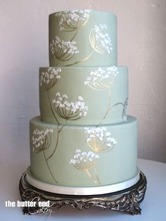 Green, white and gold wedding cake inspired by Japanese stationary by The Butter End Cakery