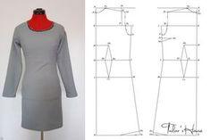 Tiparul de rochie clasica - tipar fata si spate