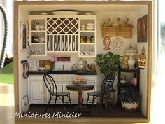 Miniature Dollhouse Kitchen RoomBox Fully Equipped Set Scale