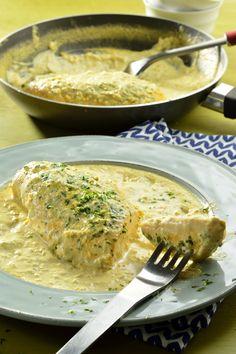 Pollo a la Crema de Ajo y Cebolla
