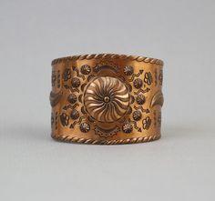 vintage navajo carved wide copper cuff bracelet #navajo