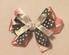 Excited to share the latest addition to my #etsy shop: Pink/Grey/White Faith Bow #portababy #hair #headband #accessories
