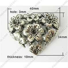 Metal Alloy Pendants, Lead Free and Cadmium Free & Nickel Free, Heart, Antique Silver, 40x34x10mm, Hole: 3mm