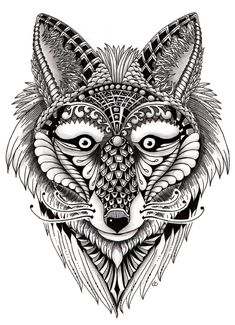 ornate-fox-ornate-zentangle-art-animals - Google Search