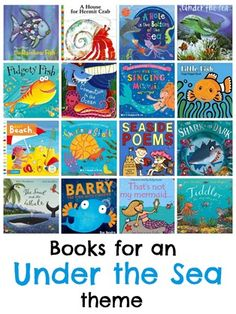16 of the best kids books for an Under the Sea or beach theme Ocean wk 8 School Themes, Classroom Themes, School Ideas, Ocean Themes, Beach Themes, Sea Activities, Children Activities, Ocean Unit, Under The Sea Theme