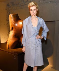 Australian actress Elizabeth Debicki looked chic in a sculptural Burberry wrap dress at the label's London fashion week show  Getty Images  via INSTYLE AUSTRALIA MAGAZINE OFFICIAL INSTAGRAM - Fashion Campaigns  Haute Couture  Advertising  Editorial Photography  Magazine Cover Designs  Supermodels  Runway Models