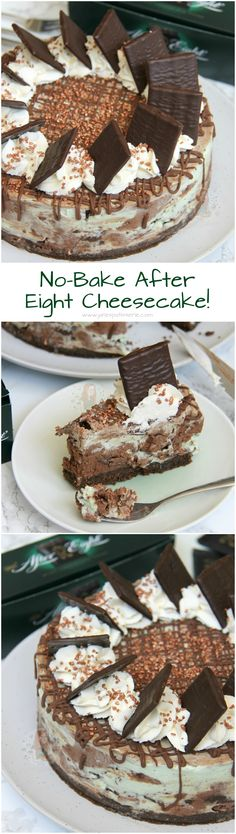 After Eight Cheesecake! ❤️ A Dark Chocolate and Mint Cheesecake full of After Eights. With a Buttery Biscuit Base, and Delicious Decoration, my new favourite! Mint Cheesecake, Baked Cheesecake Recipe, Yummy Treats, Delicious Desserts, Sweet Treats, Cupcakes, No Bake Desserts, Dessert Recipes, Janes Patisserie
