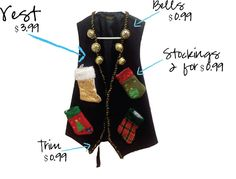 my thrifty chic: DIY Ugly Christmas Sweaters. Add some battery operated lights for more pizzaz