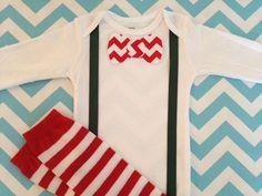 Baby Boy Christmas Outfit  Bow Tie Onesie by LittleGuySkinnyTie, $28.00