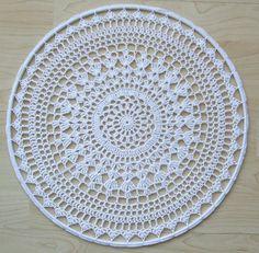 White Mandala in ring Doily Crochet PDF Pattern Crochet Round, Double Crochet, Single Crochet, Crochet Chart, Crochet Hooks, Crochet Patterns, Crochet Mandala, Crochet Doilies, Crochet Earrings Pattern