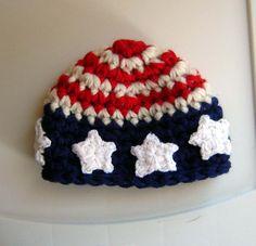 American Flag Hat  crochet Baby Newborn Photography Prop Ready Item. $16.99, via Etsy.