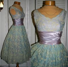 1950 Vintage 50s Blue Lavender rushed Waistband Full by Stevistuff, $245.00