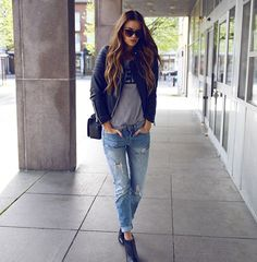 One way to style a cute spring outfit is with a casual leather jacket, simple tee, distressed jeans and black ankle boots. Via Josefin Ekstrom Jacket: Chiquelle, Jeans: JC, Tee: Ivery, Shoes: Zara