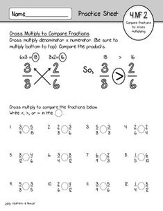 4.NF.1 & 4.NF.2 FREEBIE: Equivalent Fractions & Comparing Fractions Practice Fractions Worksheets Grade 4, Teaching Decimals, 3rd Grade Fractions, Comparing Fractions, Equivalent Fractions, School Worksheets, Printable Worksheets, Teaching Math, Dividing Fractions