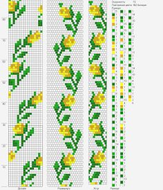 Bead crochet rope pattern - yellow roses, leaves - 16 around, 5 colors Crochet Bracelet Pattern, Crochet Beaded Bracelets, Bead Crochet Patterns, Bead Crochet Rope, Beaded Bracelet Patterns, Beading Patterns, Beaded Crochet, Crochet Necklace, Peyote Beading