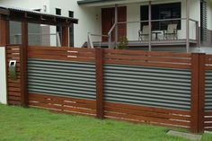 corrugated iron and timber slat screen - Google Search