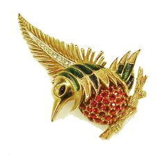 BOUCHER Bird on a Wing Brooch with Red Rhinestone Pave Belly and Green Enamel