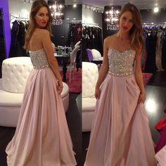 Blush pink dress, unique prom dress, formal prom dress, chiffon prom dress, prom dress 2015, online prom dress, rhinestone prom dress,15215