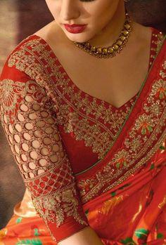 25 Dashing Red Work Blouse designs to try for your wedding - Wedandbeyond Pattu Saree Blouse Designs, Wedding Saree Blouse Designs, Fancy Blouse Designs, Blouse Neck Designs, Red Blouse Saree, Saree Blouse Patterns, Stylish Blouse Design, Salwar Kameez, Churidar