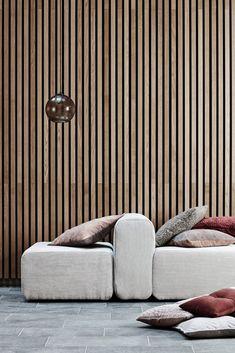 The 'Lake' modular sofa from Broste Copenhagen Living Room Nook, Living Room Decor, Living Spaces, Interior Design Inspiration, Home Interior Design, Wood Cladding, Broste Copenhagen, Mid Century Decor, Master Bedroom Design