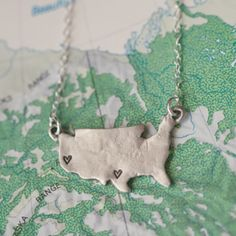 Where ever you are, that is where my heart is! Our best-selling State of My Heart necklace is made even better in sterling silver! It is absolutely stunning. Choose a place {or a few places} that holds meaning for you.