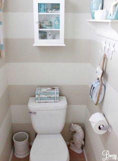 Beach Blue Powder Room - http://beachblissliving.com/aqua-blue-beach-cottage-decor/