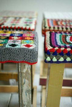 Ideas = how to crochet reclaimed wood stools