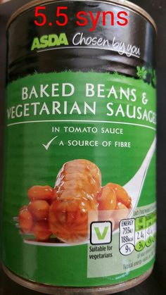 Asda beans and vegetarian sausages - syns on Slimming World Sources Of Fiber, Slimming World Recipes, Baked Beans, Asda, Sausages, Tomato Sauce, Vegetarian, Diet, Baking
