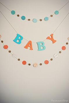 Aqua + Orange Baby Sprinkle   Project Nursery