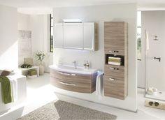 Solitaire 7005-2 •• Badmöbel-Kombi Sanremo Eiche Terra Nachbildung, bestehend aus: Spiegelschrank, Waschtisch und Unterschrank. Breite ca. 124 cm. http://www.muellerland.de/sortiment/produkt/badmoebel-4/