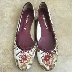 Authentic Burberry Shoes  (flats) Unique & Beautiful Authentic Burberry Shoes in Great Condition. Only wear on the bottom. I LOVE these shoes & have only worn a few times because they are are a little to small for me Burberry Shoes Flats & Loafers