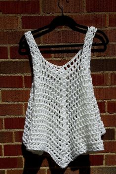 XL White Opaque Crocheted Cover Up / Tank Top / Dress / T-shirt by Claudia's Crochet Creations XL blanco opaco crocheted Cover Up / Tank Top / Vestido / Débardeurs Au Crochet, Mode Crochet, Crochet Cover Up, White Crochet Top, Crochet Pattern, Crochet Tank Tops, Crochet Blouse, Tank Top Dress, Tunic Pattern