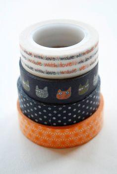 Washi Tape Set - 15mm - Combination AF - Black and Orange - Four Rolls Washi Tape. $14.20, via Etsy.