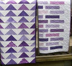 right - Flock of Triangles from Denyse Schmidt Quilts, quilt on left is Doodle Bricks Triangles & Bricks by Mad About Patchw. Quilting Projects, Quilting Designs, Sewing Projects, Quilting Ideas, Hand Quilting, Jellyroll Quilts, Scrappy Quilts, Girls Quilts, Baby Quilts