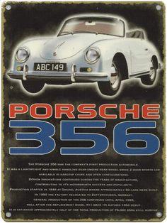 Porsche 356 : Plaque décorative rétro en métal représentant une Porsche 356. Idéal pour créer une déco dans l'ambiance vintagemécanique dans un garage, une concession automobile ou un atelier de réparation.