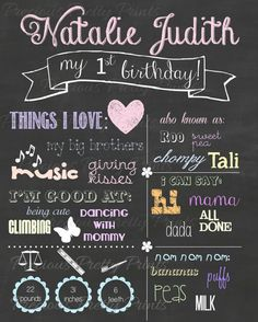 Personalized Baby's 1st Birthday Chalkboard Style 16X20 Collage Wall Decor- First Birthday party decor- Baby's 1st Year art display