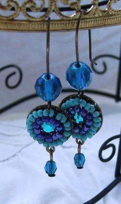 Ethnic Sky-Eye Beaded Earrings - Safed Blue Beaded Jewelry - Double Row