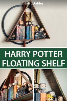 Harry Potter Floating Shelf : Create a floating shelf that is based on the Deathly Hallows symbol from the Harry Potter series. Harry Potter Bathroom, Harry Potter Nursery, Harry Potter Classroom, Harry Potter Baby Shower, Harry Potter Decor, Harry Potter Birthday, Harry Potter Christmas Decorations, Classe Harry Potter, Anniversaire Harry Potter
