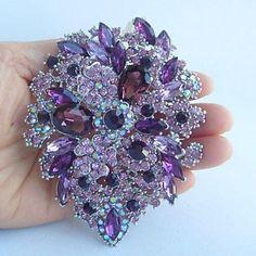 Women's Trendy Alloy Silver-tone Purple Rhinestone Crystal Flower Brooch Pin – USD $ 29.99