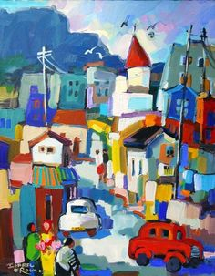 Isabel le Roux-street scene pinned from a board; Art : Dwellings and City Scapes Paintings I Love, Seascape Paintings, Mantle Art, Christmas Jigsaw Puzzles, City Scapes, South African Artists, Board Art, Z Arts, Naive Art