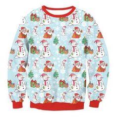 dc7cd15c1db6f Pulls de Noël · Bleu Sweatshirt Femme Col Round Manche Longue Imprimé Sapin  Noël Bonhomme de Neige Christmas Décontracté Grande