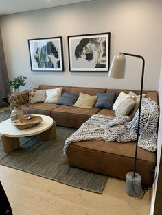 Living Room Decor With Brown Sofa, Brown Leather Couch Living Room, Suede Couch, Grey And Brown Living Room, Living Room Decor Cozy, Home Living Room, Living Room Designs, Brown Sofa Inspiration, Living Room Inspiration