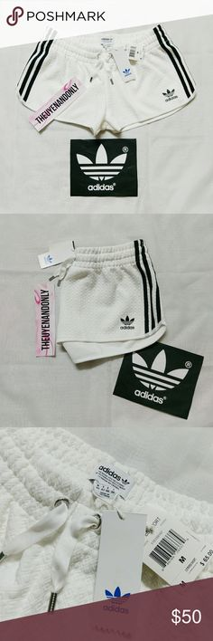NWT *RARE* Adidas 3 Stripes Corewhite Shorts This item is *SOLD OUT* everywhere  82% Polyester 16% Rayon 2% Spandex  All Over Quilted Diamond Pattern  Color is white. Some pics may appear offwhite due to lighting.  $65 originally plus tax  Only Accept Reasonable Offer  FREE SHIP is available, please contact adidas Shorts