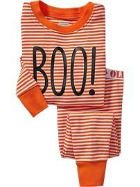 striped boo halloween toddler pj set