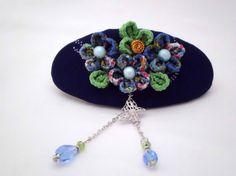 Blue plum blossom French barrette Kanzashi inspired by JagataraArt #Craftshout