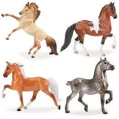 Stablemates Gift Pack by Breyer. $11.99. Grey Percheron. Palomino Tennessee Walking Horse. Bay Pinto Peruvian Paso Cross. 4-horse set. Dun Mustang. From the Manufacturer                Contains four horses: Grey Percheron, bay pinto Peruvian Paso cross, palomino Tennessee Walking Horse, dun Mustang.                                    Product Description                Our Breyer Stablemates horses are 1:32 scale model horses. They come in assorted breeds and colors and...