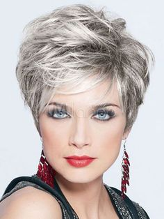 Grey Granny Hair Wigs Layered Boycuts To - Hair Beauty Grey Hair Gel, Short Grey Hair, Short Hair With Layers, Short Hair Cuts For Women, Short Hairstyles For Women, Layered Hair, Modern Short Hair, Short Pixie Haircuts, Frontal Hairstyles